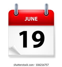 Nineteenth June in Calendar icon on white background
