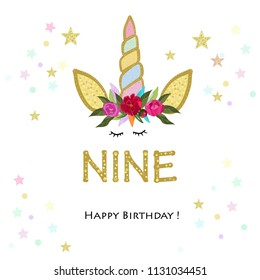 Nineth birtday. Nine. Unicorn Birthday invitation. Party invitation greeting card