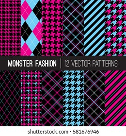 Nineties Grunge Fashion Patterns in Neon Pink, Blue and Black. Preppy Monster Dolls Backgrounds. Fluorescent Colors Houndstooth Tweed, Tartan Plaid, Stripes and Argyle. Pattern Tile Swatches Included.