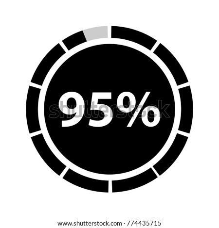 Ninety Five Percentage Circle Icon 95 Stock Vector Royalty Free