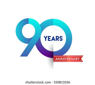 ninety years anniversary celebration logotype blue colored with red ribbon, 90th birthday logo on white background
