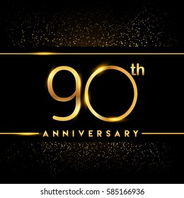ninety years anniversary celebration logotype. 90th anniversary logo with confetti golden colored isolated on black background, vector design for greeting card and invitation card
