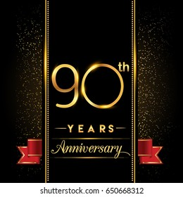 ninety years anniversary celebration logotype. 90th anniversary logo with confetti golden colored and red ribbon isolated on black background, vector design for greeting card and invitation card