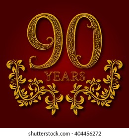 Ninety years anniversary celebration patterned logotype. Ninetieth anniversary vintage golden logo with shadow.