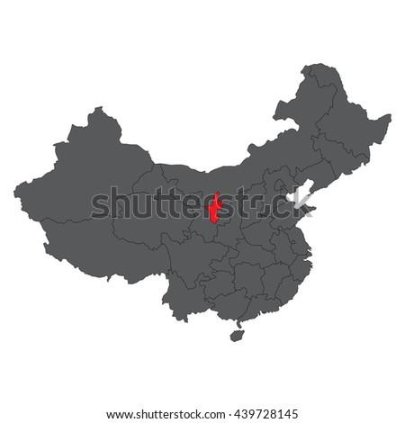 Ningxia China Map.Ningxia Red Map On Gray China Stock Vector Royalty Free 439728145