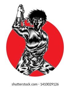 Ninja Assasin, Hand Drawn Engraving Illustration,  Isolated Vector