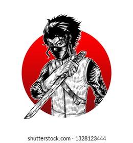Ninja Assasin, Isolated Vector, Hand Drawn Illustration