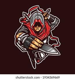 Ninja Assasins Mascot cartoon illustration
