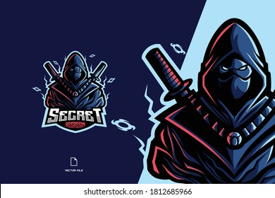 ninja assassin mascot logo game for sport and esport team illustration