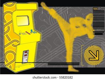 Ninja beat-em-up fighting arcade in yellow & grey.
