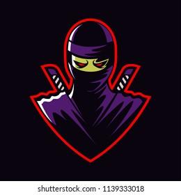 ninja in black background mascot design