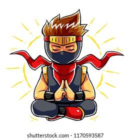 Ninja Boy Meditation Mode.
