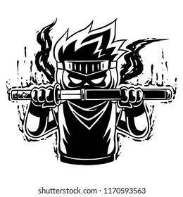 Ninja Boy Raging Mode BW.