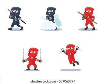 ninja cartoon set illustration design