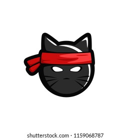 Ninja cat head logo icon esport illustration sticker mask