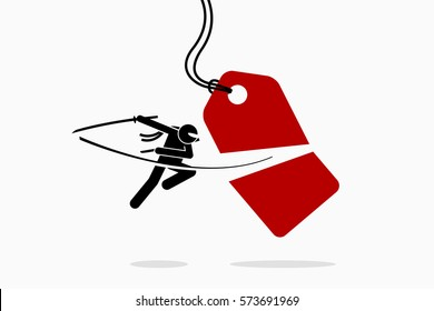 Ninja cuts and slash a price tag into half. Vector artwork depicts sales, promotion, discount, offer, and shopping.
