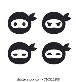 Ninja face icon set. Modern simple logo in flat cartoon style. Vector illustration.