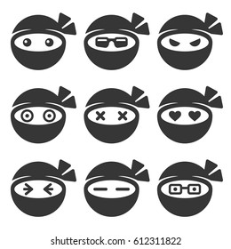 Ninja Face Icons Set on White Background. Vector illustration