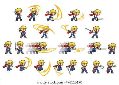 Ninja Game Sprites. Suitable for side scrolling, action, and adventure game.
