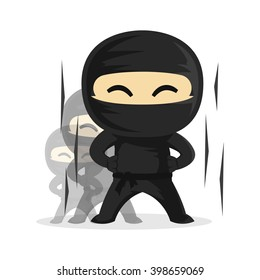 Ninja Growing Up Level Up Very Fast Vector Character