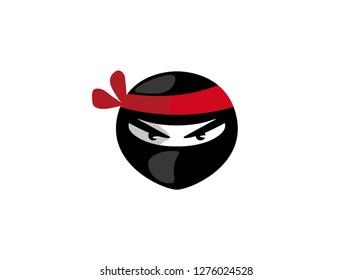 Ninja head with angry face