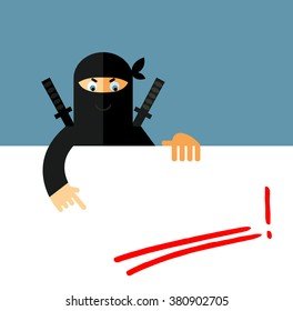 Ninja holding a blank sheet and pointing on red underline empty place. Flat style vector illustration. Ninja in black mask's clothes