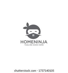Ninja house logo template vector icon. House,home,real estate with ninja face illustration.