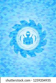 ninja icon inside light blue mosaic emblem