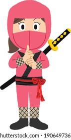 Ninja is Japanese Samurai ,Warrior Fighter, Character Cartoon, Martial Art Weapon Swords.