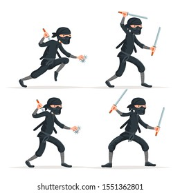 Ninja japanese secret assassin sword character cartoon set stealthy sneaking isolated on white vector illustration