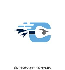 Ninja Letter C Initial Logo Concept