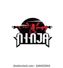 Ninja logo, ninja sun, ninja sunset, ninja japan