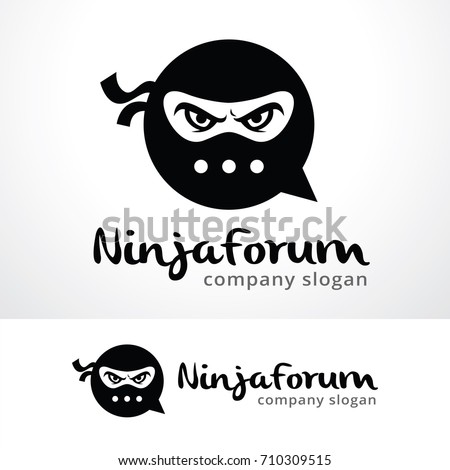 ninja logo template design vector emblem stock vector royalty free