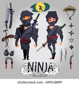 Ninja male and female character design with tools set. logotype for your header - vector illustration