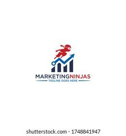 Ninja management logo design, Trade Bull Chart, financial logos. modern eye catching logo. Economic finance chart icon business productivity logo icon. Business analysis.