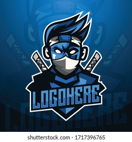 Ninja Mascot logo in blue background