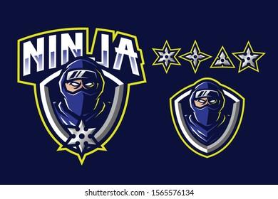 Ninja mascot logo design with weapon isolated on dark blue background