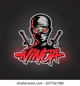 Ninja mascot logo. vector illustration