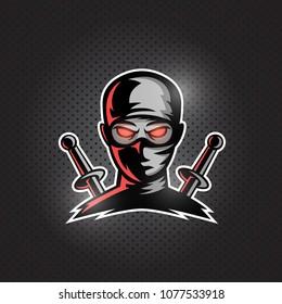 Ninja mascot logo vector. Masked ninja with two swords on his back.
