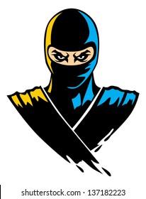 ninja mascot in paint effect