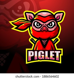 Ninja piglet mascot esport logo design