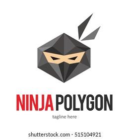 NINJA POLY POLYGON POLYGONAL LOGO ICON SYMBOL EMBLEM TEMPLATE