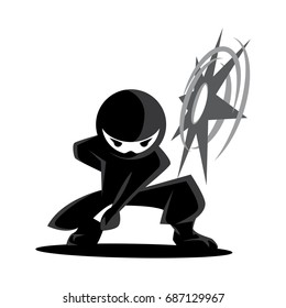 Ninja Samurai Warrior Fighter Character Cartoon Martial Art Weapon Shuriken
