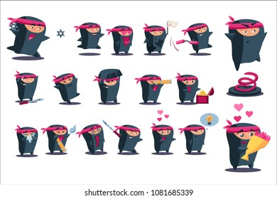 Ninja set, japanese warrior wearing mask and traditional clothes, samurai character in different situations and various emotions vector Illustrations