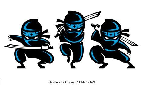 Ninja Shadow blue hold katana sword warrior fighter character cartoon