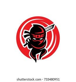 Ninja shadows red logo template