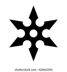 Ninja shuriken throwing star flat vector icon for games and websites