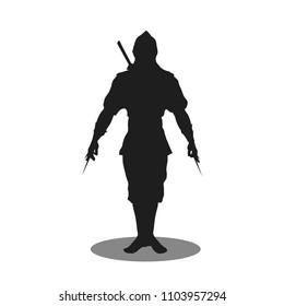 ninja silhouette vector, illustration modern ninja assassin