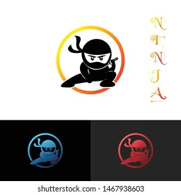 Ninja simple logo icon design vector, with circle shapes