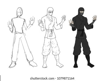 Ninja Sketch Design Stock Vector Royalty Free 1079871164